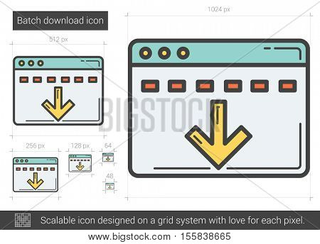 Batch download vector line icon isolated on white background. Batch download line icon for infographic, website or app. Scalable icon designed on a grid system.
