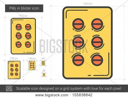 Pills in blister vector line icon isolated on white background. Pills in blister line icon for infographic, website or app. Scalable icon designed on a grid system.