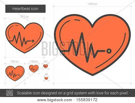 Heartbeat vector line icon isolated on white background. Heartbeat line icon for infographic, website or app. Scalable icon designed on a grid system.