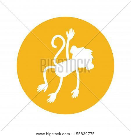 Monkey silhouette inside circle icon. Animal wildlife ape and primate theme. Isolated design. Vector illustration