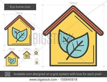 Eco home vector line icon isolated on white background. Eco home line icon for infographic, website or app. Scalable icon designed on a grid system.