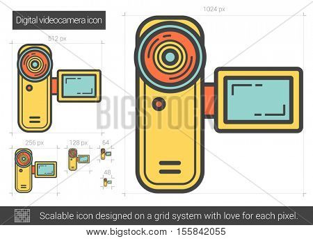 Digital videocamera vector line icon isolated on white background. Digital videocamera line icon for infographic, website or app. Scalable icon designed on a grid system.