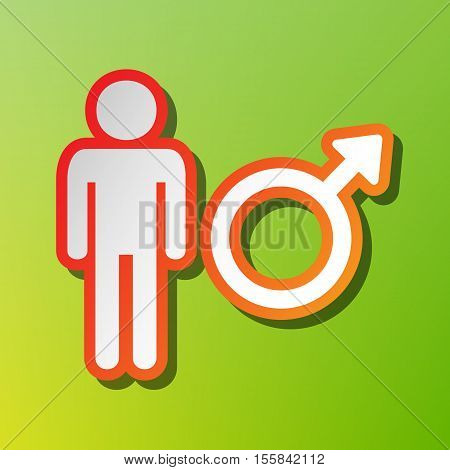 Male Sign Illustration. Contrast Icon With Reddish Stroke On Green Backgound.
