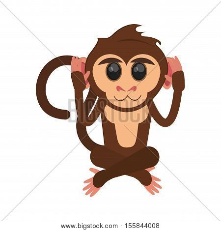 Monkey cartoon icon. Animal wildlife ape and primate theme. Isolated design. Vector illustration