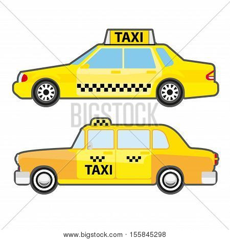 Set of car taxi service, side view. Yellow vehicle transport cab for city. Modern and retro urban public transport. Vector illustration isolated on white background. Flat icons for design.