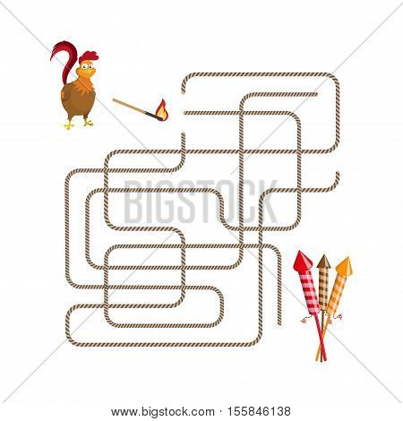 Christmas games: maze. Help choose the rooster run salute. Vector illustration