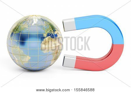 Magnet and earth 3D rendering isolated on white background