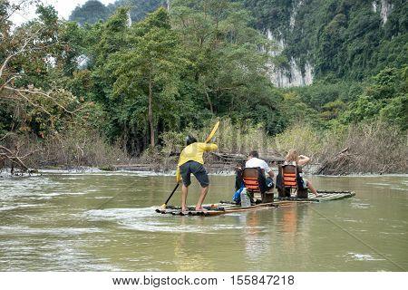 Khao Lak Thailand - september 12 2016: Bamboo rafting in the rainforest at Khao Lak