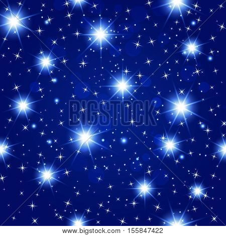 blue night sky seamless pattern with glowing stars. Vector illustration.