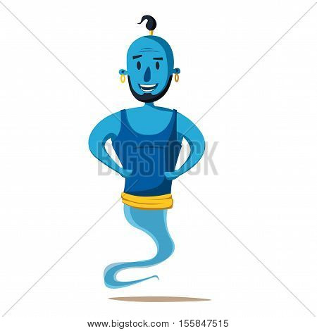Genie of the lamp. Cartoon vector illustration. Miracle. Old fable. Arabic culture
