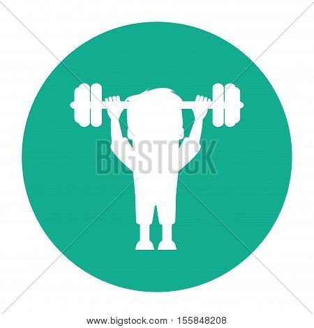 Man cartoon lifting weight icon. Fitness gym bodybuilding bodycare and fit theme. Isolated design. Vector illustration