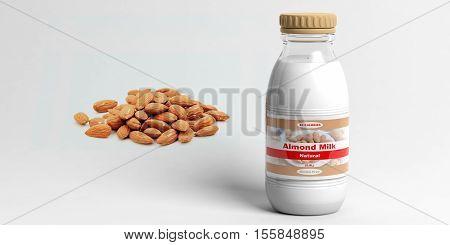 3D Rendering Almonds And Almond Milk Bottle