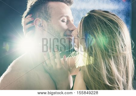Naked Lovers Kissing Tenderly