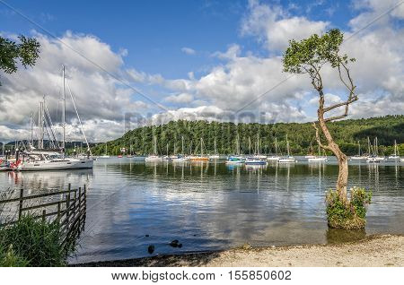 Sailboats in harbor of Windemere at Bowness on sunny day.