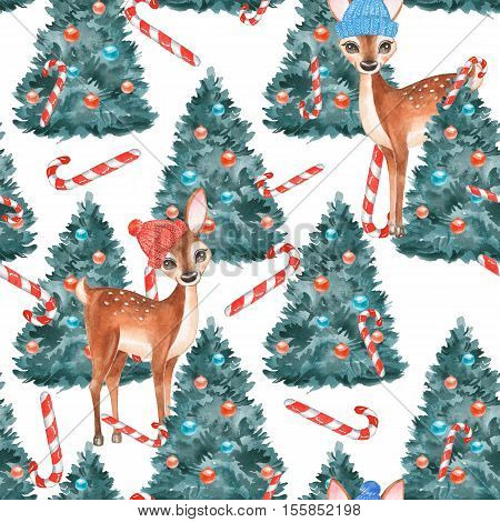 New year seamless pattern. Fawns. Christmas background 1