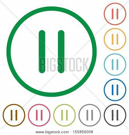 Media pause flat color icons in round outlines