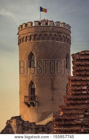 The Chindia Tower In Targoviste, Romania. Ancient Tower In Targo