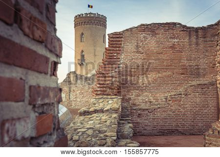The Chindia Tower In Targoviste, Romania. Ancient Tower In Targoviste, Romania. The Chindia Tower Wa