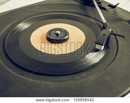 Vintage Looking Vinyl Record On Turntable