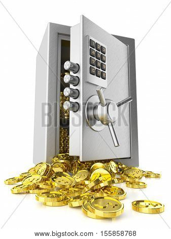 Open Safe Door And Stack Coins