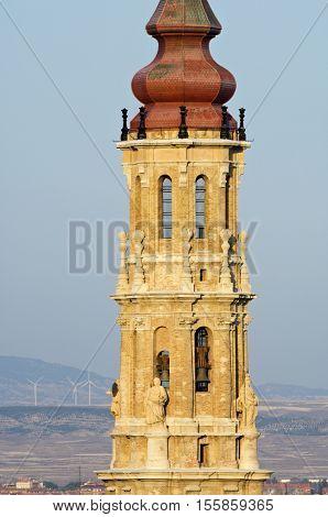 La Seo tower in Pilar Square, Zaragoza, Spain.