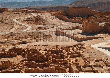 Ruins of fortress Masada. Historical museum. Israel.