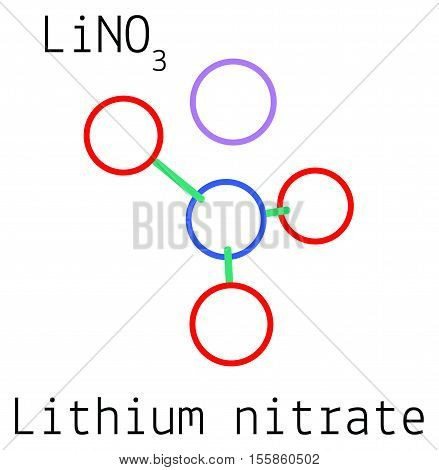 LiNO3 Lithium nitrate molecule isolated on white