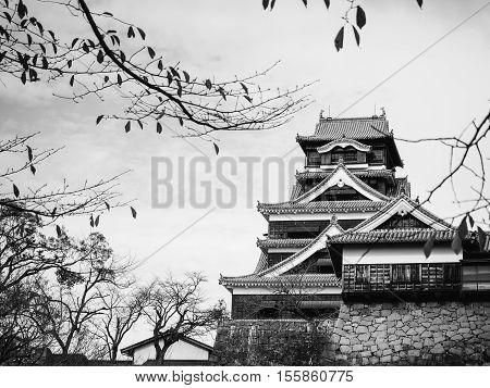 Kumamoto castle in monochrome black and whitethe landmark in Kyushu Japan