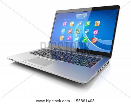 Laptop computer with OS icon isolated on white background 3d