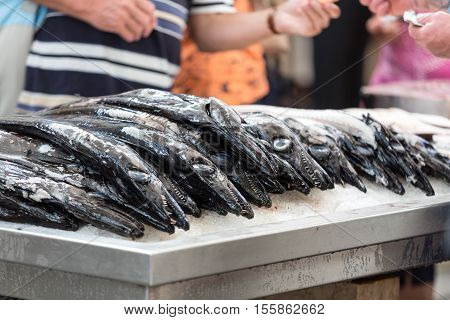 Fish on market black scabbard (espada) in fish market