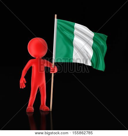 3D Illustration. Man and Nigerian flag. Image with clipping path