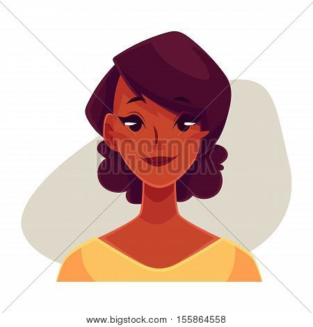 Pretty African girl, neutral facial expression, cartoon vector illustrations isolated on gray background. Black woman feeling glad, serene, relaxed, delighted. Neutral face expression