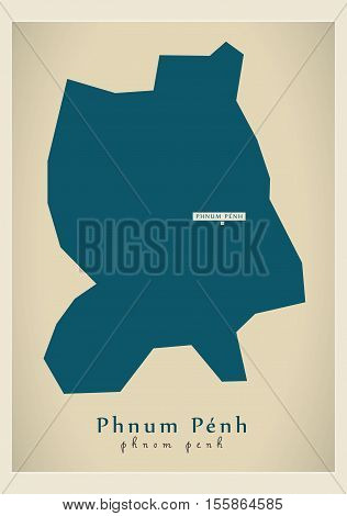 Modern Map - Phnum Penh KH vector illustration high res