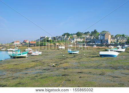 Low Water in Harbor of Ploumanach at Cote de Granit Rose,North Sea,Brittany,France