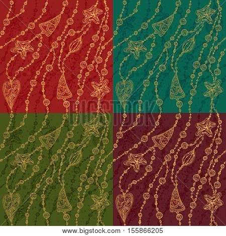 The raster version set of 4 vector seamless Christmas patterns. Winter holiday backgrounds. Decorative Christmas ornament.
