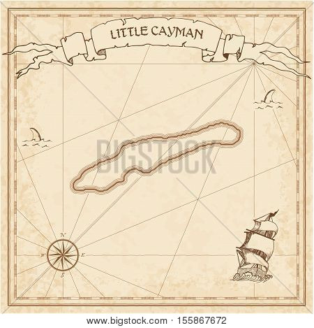 Little Cayman Old Treasure Map. Sepia Engraved Template Of Pirate Island Parchment. Stylized Manuscr