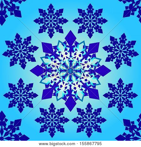 seamless pattern blue snowflakes make a circle. Seamless pattern on a blue gradient background. Vector