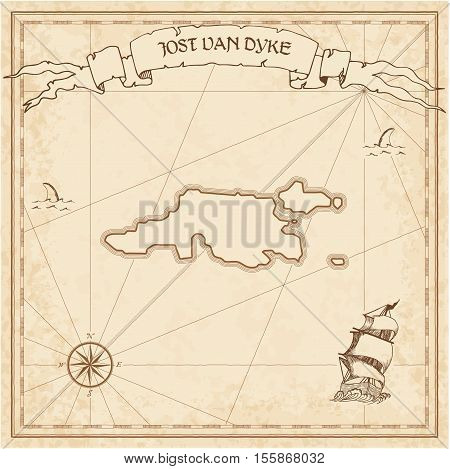 Jost Van Dyke Old Treasure Map. Sepia Engraved Template Of Pirate Island Parchment. Stylized Manuscr