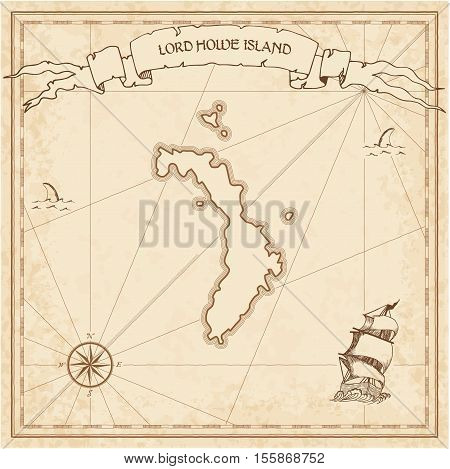 Lord Howe Island Old Treasure Map. Sepia Engraved Template Of Pirate Island Parchment. Stylized Manu