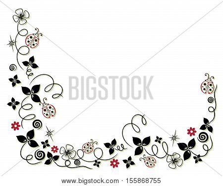 New Year's garland with clover, flowers and ladybirds