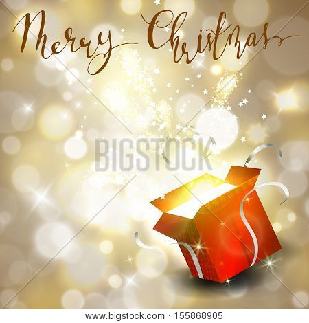 Christmas background with open red box with stars and confetti and fireworks on bokeh background