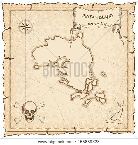 Bintan Island Old Pirate Map. Sepia Engraved Parchment Template Of Treasure Island. Stylized Manuscr