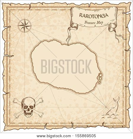 Rarotonga Old Pirate Map. Sepia Engraved Parchment Template Of Treasure Island. Stylized Manuscript