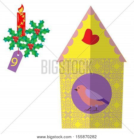Christmas poster with vintage birdhouses bird with leaves and berries Holly. Colorful advent calendar counting down the days to Christmas nine days.