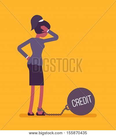 Businesswoman chained with a giant metall weight, written Credit on a ball, thinking the problem over, scratching her head. Rear view. Cartoon vector flat-style concept illustration