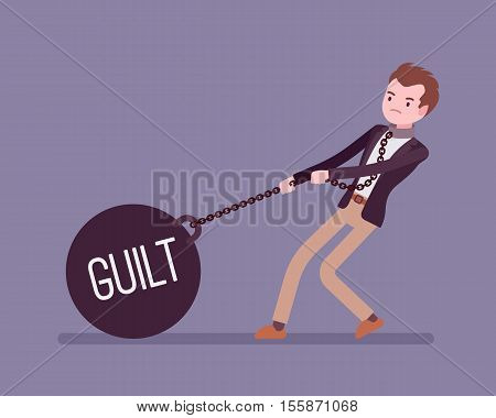 Businessman dragging a giant heavy weight on chain, written Guilt on a ball. Cartoon vector flat-style concept illustration
