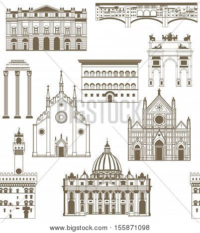 vector seamless colored background with famous Italian landmarks