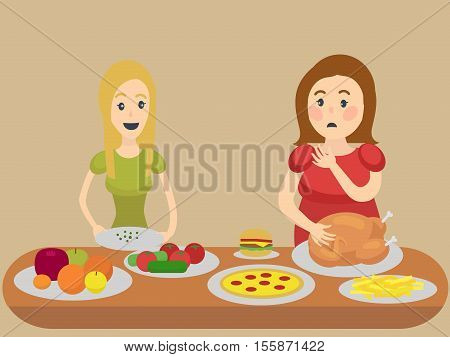 Thin and thick girl eating. Colorful hand drawn cartoon vector illustration