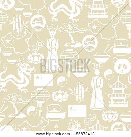 China seamless pattern. Chinese symbols and objects.