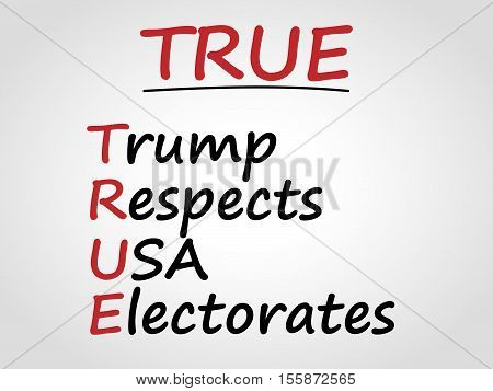 Trump respects USA electorate. TRUE acronym. Politics concept.
